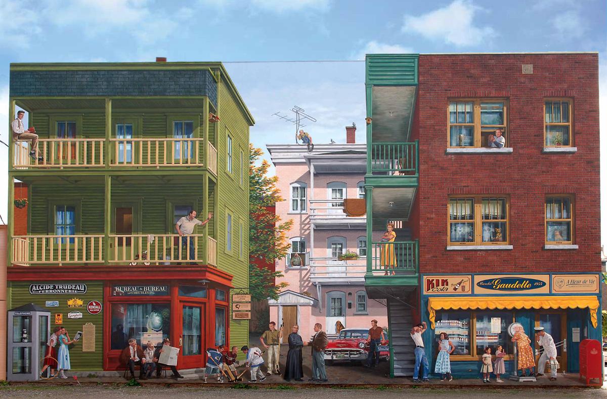 <p>Murale pr&egrave;s du 364, rue Alexandre<br />Largeur : 57 pieds<br />Hauteur : 34 pieds<br />R&eacute;alisation : MURIRS, 2005</p><p>Cette&nbsp;&oelig;uvre murale rend hommage au quartier sud-ouest de Sherbrooke&nbsp;surnomm&eacute;&nbsp;&laquo; Le Petit-Canada &raquo; et&nbsp;habit&eacute; par des ouvriers&nbsp;canadiens-fran&ccedil;ais. Repr&eacute;sent&eacute; ici au quotidien d&rsquo;un 27 septembre 1957, ce quartier &eacute;tait li&eacute; &agrave; l&rsquo;industrie du textile, de la m&eacute;canique et de la m&eacute;tallurgie. Il &eacute;tait majoritairement peupl&eacute; de grandes familles en plein baby-boom de l&rsquo;apr&egrave;s-guerre.<br /><br />Ce quartier comprend &agrave; l&#39;&eacute;poque des maisons carr&eacute;es &agrave; grandes galeries, des ruelles et des arri&egrave;re-cours&nbsp;o&ugrave; il existe une ambiance de bon voisinage.<br /><br />&Agrave; l&#39;&eacute;poque, Sherbrooke est en voie de devenir de plus en plus active avec une universit&eacute; naissante et la venue des nouvelles technologies, comme la t&eacute;l&eacute;vision.<br /><br />Dans cette mise en sc&egrave;ne tram&eacute;e des airs d&rsquo;Elvis Presley, de Chevrolet Bel-Air et de la Sainte Flanelle se faufilent quelques personnalit&eacute;s du quartier et plusieurs commer&ccedil;ants familiers.</p><p>&nbsp;</p>