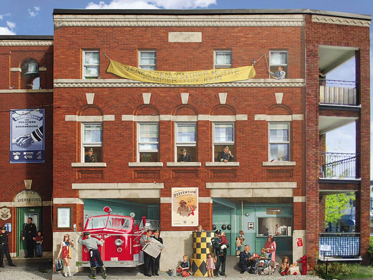 <p>Murale pr&egrave;s du 275, rue Marquette<br />R&eacute;alisation : MURIRS, 2007<br /><br />Sur cette murale, vous pouvez voir l&#39;ancienne caserne du poste central de la rue Marquette (lieu actuel de la biblioth&egrave;que &Eacute;va-Sen&eacute;cal).&nbsp;Cette fresque rend hommage au service d&#39;incendie et de police de Sherbrooke.<br /><br />En cette belle journ&eacute;e ensoleill&eacute;e de l&#39;&eacute;t&eacute; 1967, la caserne ouvre ses portes lors de l&#39;activit&eacute; annuelle Pompier d&#39;un jour. C&#39;est la m&ecirc;me ann&eacute;e que l&#39;Expo 67. Les Beatles lancent leur disque Sgt. Pepper&#39;s Lonely Hearts Club Band. Et, c&#39;est l&#39;ann&eacute;e de la retraite pour le directeur du service des incendies, Percy Donahue, apr&egrave;s 55 ann&eacute;es de loyaux services &agrave; la ville de Sherbrooke.<br /><br />Le policier Bertrand Lacasse, qui s&#39;y trouve illustr&eacute;, a dirig&eacute; la circulation au centre-ville pendant de nombreuses ann&eacute;es.</p><p>&nbsp;</p>