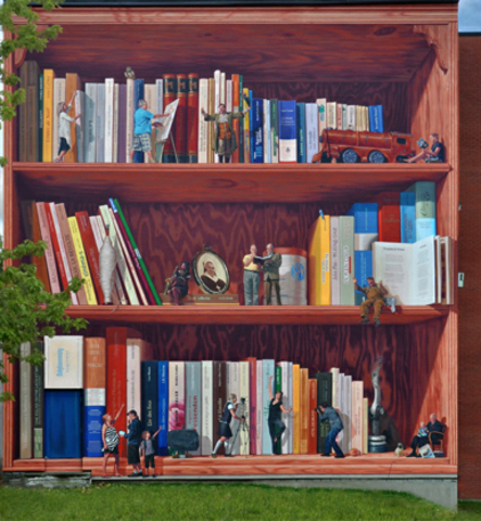 <p>This trompe-l&rsquo;&oelig;il mural evokes the history of a neighbourhood through literature, culture and knowledge where small characters walk on the levels of a bookcase like it was a building.</p>
