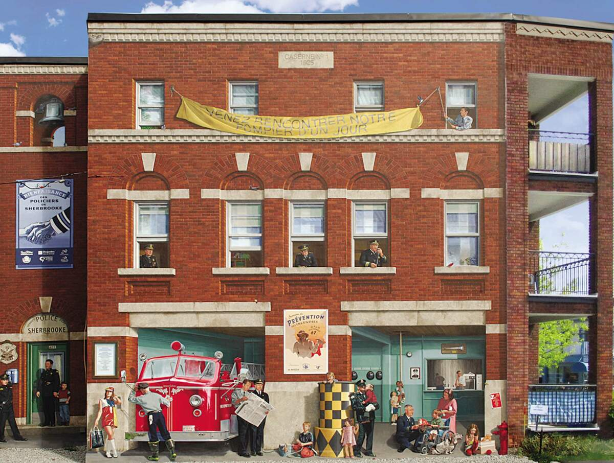 <p>Near 275, Marquette street<br />Wide: 39 feet<br />High: 34 feet<br />Realisation: MURIRS, 2007</p><p>In this mural, you can see the former central fire station on rue Marquette (where the &Eacute;va-Sen&eacute;cal library stands today). The mural is a tribute to Sherbrooke&rsquo;s fire and police services.<br /><br />On this beautiful summer day in 1967, the fire station opened its doors during the annual Firefighter for a Day event. It was the year of Expo 67, the same year the Beatles released the album Sgt. Pepper&rsquo;s Lonely Hearts Club Band. It was also the year of the retirement of Percy Donahue, the director of firefighting services, after 55 years of loyal service to the City of Sherbrooke.<br /><br />The policeman Bertrand Lacasse, illustrated in the mural, directed traffic downtown for many years.</p><p>&nbsp;</p>