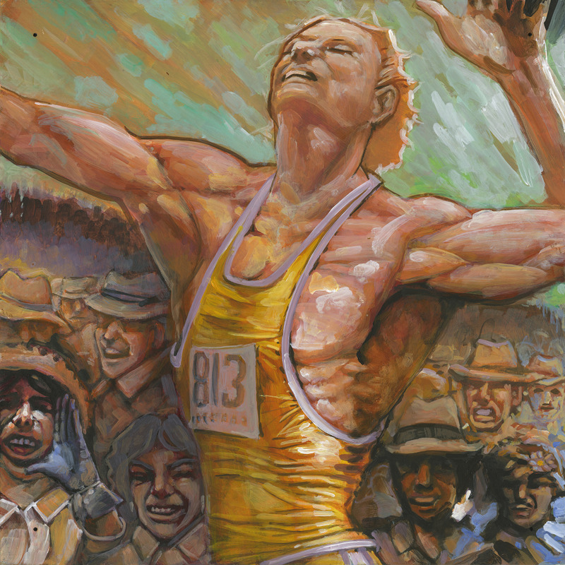 <p>This panel is an important point in the face of the athlete that is represented in large format. His arms serve as arch of the eyebrows.<br /><br />When you look closely, you can see characters, and when you step back, you can see very precisely the eyes of the athlete who is running.</p>