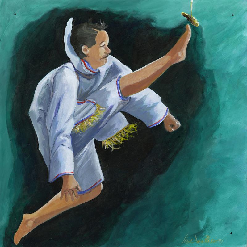 <p>Ce qui est int&eacute;ressant de ce tableau, c&rsquo;est l&rsquo;approche r&eacute;gionale qui a &eacute;t&eacute; repr&eacute;sent&eacute;e par l&#39;artiste Lise Desrosiers, soit un sport pratiqu&eacute; au Nunavut. Ils ont leur propre identit&eacute; sportive. Ici, il s&rsquo;agit de ce que l&rsquo;on appelle un &laquo; one foot high kick &raquo;. L&rsquo;athl&egrave;te doit donner un coup de pied dans les airs et frapper un objet situ&eacute; &agrave; la hauteur d&rsquo;un panier de basketball avec son pied. C&#39;est une approche &agrave; la fois locale et culturelle parmis ces 224 tableaux.</p>