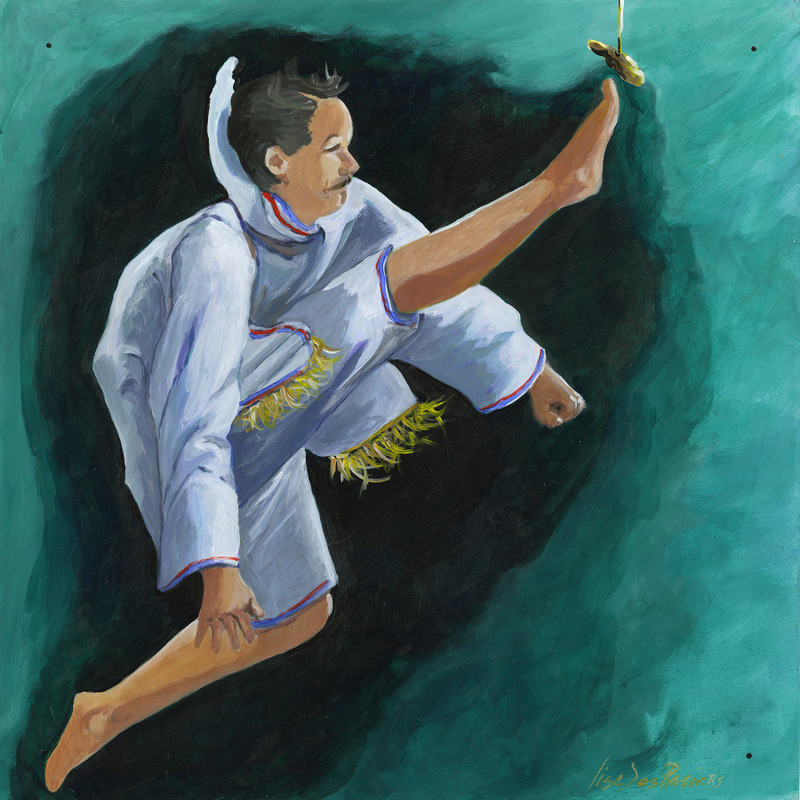 <p>What&rsquo;s interesting in this painting is the regional approach that was represented by madam Desrosiers: a sport from her province. They have their own culture and even their own sporting identity. Here we can call it the &ldquo;one foot high kick&rdquo;. The person in Nunavut, the athlete, must kick an object at a height of a basketball; it&rsquo;s pretty impressive. There is a very cultural approach among these 224 paintings.</p>