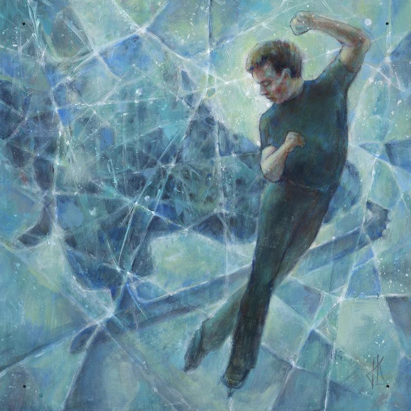 <p>Pour sa repr&eacute;sentation du patinage artistique, Julie, au lieu de travailler seulement avec le patinage, a aussi d&eacute;cid&eacute; d&rsquo;int&eacute;grer la glace comme &eacute;l&eacute;ment visuel dans son &oelig;uvre. On voit donc, en arri&egrave;re du patineur, toutes les rayures cr&eacute;&eacute;es par les patins. C&rsquo;est d&rsquo;ailleurs remarquable; quand un patineur artistique a termin&eacute; sa prestation, on remarque bien que la patinoire est vraiment d&eacute;figur&eacute;e. Madame Kaldenhoeven a d&eacute;cid&eacute; de l&rsquo;int&eacute;grer dans l&rsquo;&oelig;uvre pour en faire un tout. Cette approche est vraiment int&eacute;ressante.</p>