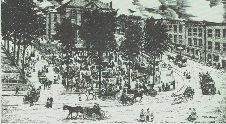 <p>Le march&eacute; public du Strathcona Square au d&eacute;but 1900.</p>