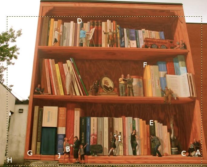 EASY&nbsp;<br />1 apple (A), 1 pregnant woman (B), 1 dog (C)<br /><br />MEDIUM<br />1 owl (D), 1 butterfly (E), 1 blue jay (F)<br /><br />HARD<br />1 mole (G), 1 elf (H), 1 happy face (I), 10 ladybugs (J)