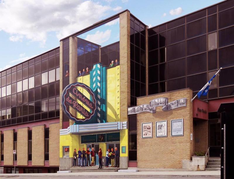 L&#39;histoire du cin&eacute;ma de Sherbrooke est &agrave; l&#39;honneur sur la murale situ&eacute;e au coin des rues King et Camirand. On y voit la fa&ccedil;ade du Cin&eacute;ma de Paris, qui &eacute;tait jadis situ&eacute;e presqu&#39;au m&ecirc;me endroit. Cette murale met, entre autres, en valeur des acteurs et com&eacute;diens originaires de la r&eacute;gion, des producteurs et r&eacute;alisateurs connus, des gens de th&eacute;&acirc;tre et des cin&eacute;astes.&nbsp;<br /><br />Sur place, vous constaterez que cette murale pr&eacute;sente un effet trompe l&#39;&oelig;il tr&egrave;s int&eacute;ressant. La grande affiche du Cin&eacute;ma de Paris est une illusion d&#39;optique qui, vue de l&#39;angle des rues Camirand et King ouest, donne l&#39;impression qu&#39;elle est parfaitement perpendiculaire &agrave; l&#39;&eacute;difice.&nbsp;La technique utilis&eacute;e se nomme l&#39;anamorphose.