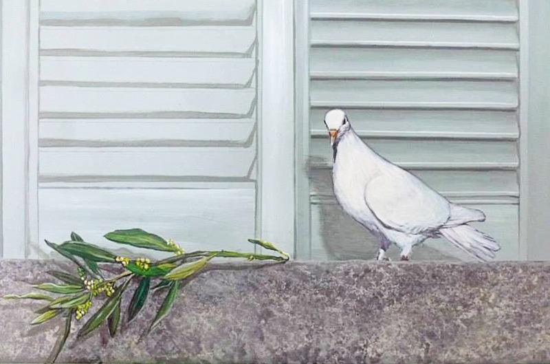 <p>Remarquez le souci des d&eacute;tails entourant la colombe, dont les ombrages.</p>