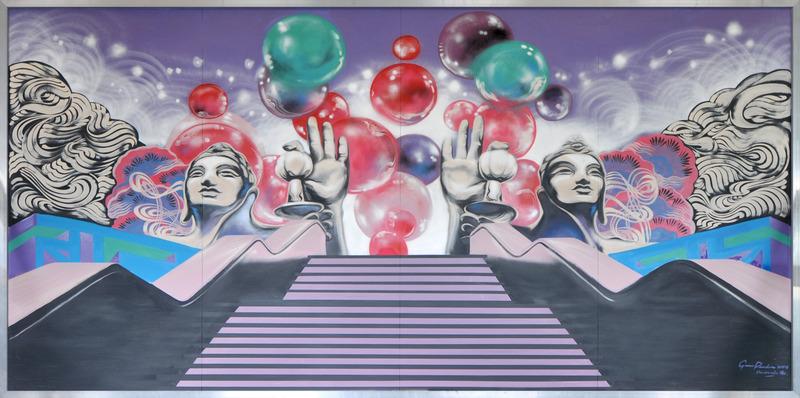 Titre: Cohesion Ideology Remix<br />Artiste:&nbsp;Gene Pendon<br /><br />Cette &oelig;uvre est une interpr&eacute;tation fantastique et ludique de l&rsquo;id&eacute;ologie de coh&eacute;sion (Cohesion Ideology). Cette id&eacute;ologie est illustr&eacute;e en tant que destination &laquo; kitch &raquo;. La murale illustre une forme &eacute;l&eacute;gante de mode disco asiatique de style &laquo; Resort Oasis &raquo; sous les &eacute;toiles.&nbsp;