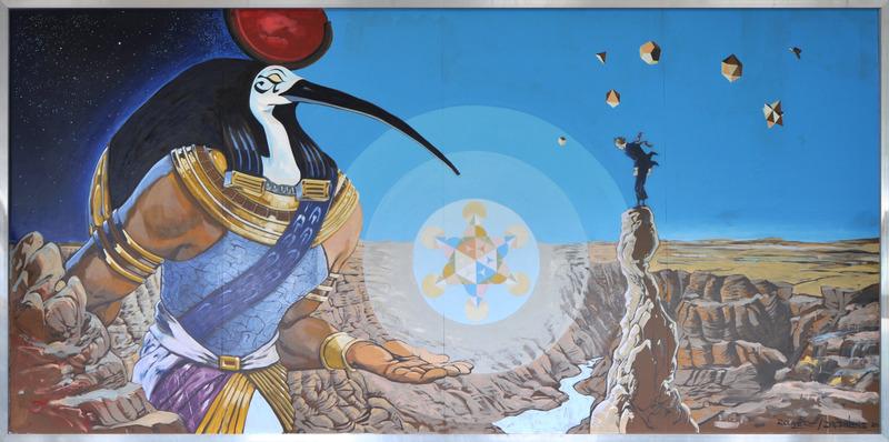 <p>Titre: La fleur de vie<br />Artistes:&nbsp;Dominique Desbiens et Bruno Rouy&egrave;re<br /><br />Cette peinture murale aborde le th&egrave;me de l&rsquo;&eacute;ducation, enjeu crucial de l&rsquo;&eacute;volution et de l&rsquo;&eacute;panouissement d&rsquo;une culture. Dans cette &oelig;uvre, le dieu &eacute;gyptien Thot-Anubis offre &agrave; l&#39;Homme moderne la cl&eacute; de la connaissance, une Fleur de Vie, tel un symbole du grand savoir des Anciens.</p>