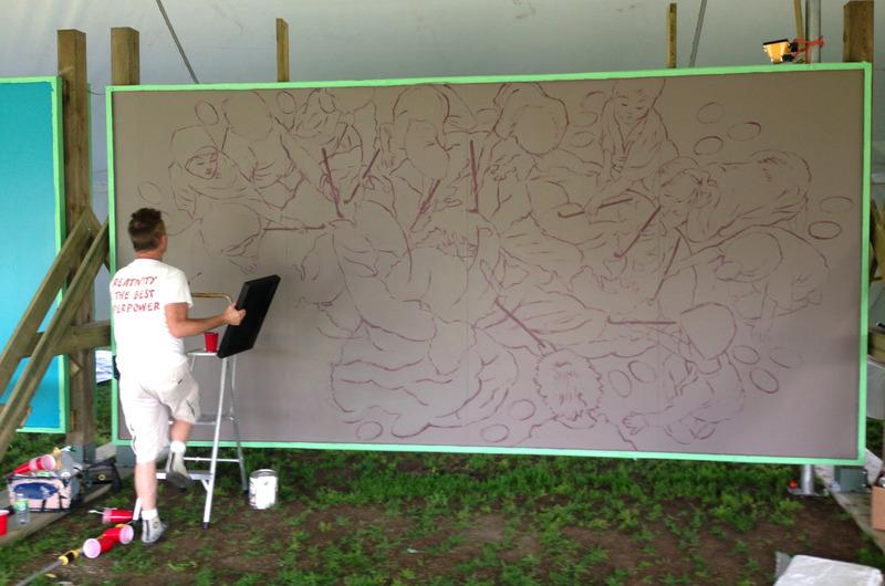 <p>D&eacute;but des travaux de la murale de Charlie Johnston.</p>