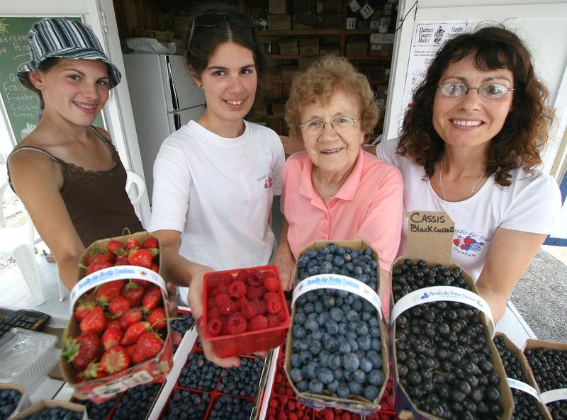 <p>Au Paradis des Fruits Dunham<br />519, rue Bruce<br />Dunham (Qu&eacute;bec)<br />J0E 1M0<br />www.paradisdesfruits.com</p>