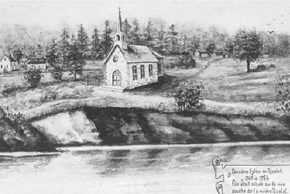 <p>La deuxi&egrave;me &eacute;glise de Nicolet est entreprise en 1734. Elle est achev&eacute;e en 1740. Elle &eacute;tait faite de pierre des champs et &eacute;tait voisine &agrave; la premi&egrave;re &eacute;glise. Elle n&#39;existe plus aujourd&#39;hui.&nbsp;Cr&eacute;dit photo : A.S.N.</p>