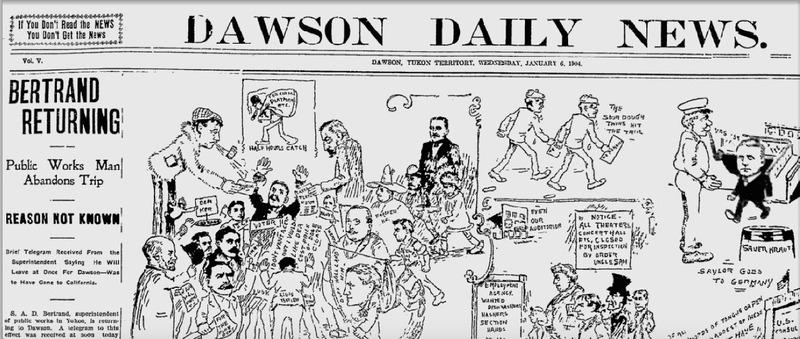 Le Dawson Daily News est l&rsquo;un des meilleurs exemples du d&eacute;veloppement du journalisme dans le Grand Nord canadien. &Agrave; la suite de la Ru&eacute;e vers l&rsquo;or, douze journaux ont vu le jour &agrave; Dawson, dont certains n&rsquo;ont &eacute;t&eacute; tir&eacute;s qu&rsquo;&agrave; quelques exemplaires avant de mettre la cl&eacute; sous la porte. Le Dawson Daily News a publi&eacute; de 1899 &agrave; 1954.<br /><br />Aujourd&rsquo;hui encore, le Klondike Sun, cr&eacute;&eacute; en 1989 par des membres de la communaut&eacute;, continue de para&icirc;tre toutes les deux semaines &agrave; 1 000 exemplaires, ce qui s&rsquo;av&egrave;re exceptionnel pour une ville de si petite taille.<br /><br />Photo : Extrait du Dawson Daily News
