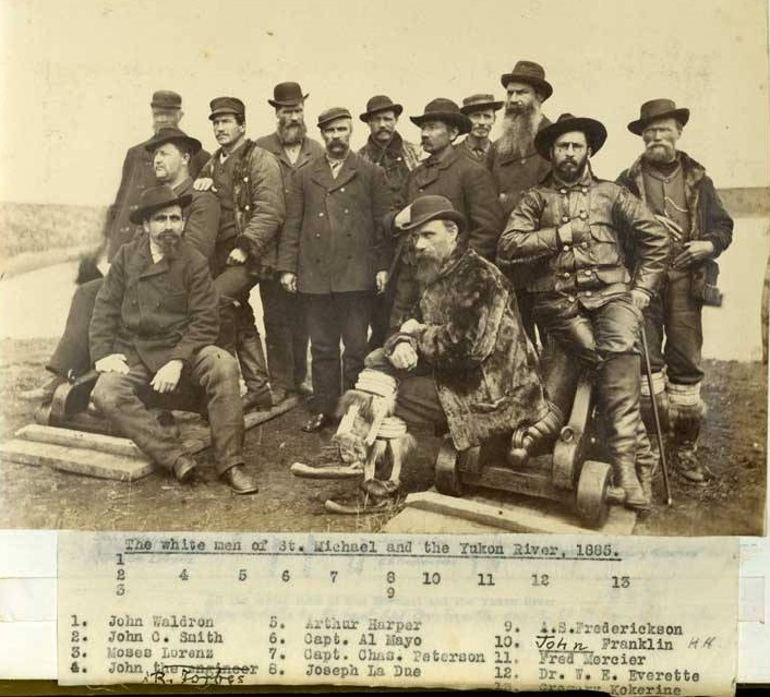 <p>Francophones were among the first white people to explore the Yukon, including Joseph Ladue, founder of Dawson City, and Fran&ccedil;ois-Xavier Mercier, described as the king of the fur trade in the north, who established the first trading post in the region that would become the Klondike in 1874.<br /><br />Photo : The white men of St. Michael and the Yukon River, 1885.<br />Photo credit: Schieffelin Brothers Yukon River prospecting trip, 1882-1883. Alaska State Library ASL-P277-017-Monograph. Collection Name Wickersham State Historic Site. Photographs, 1882-1930s. ASL-PCA-277</p>