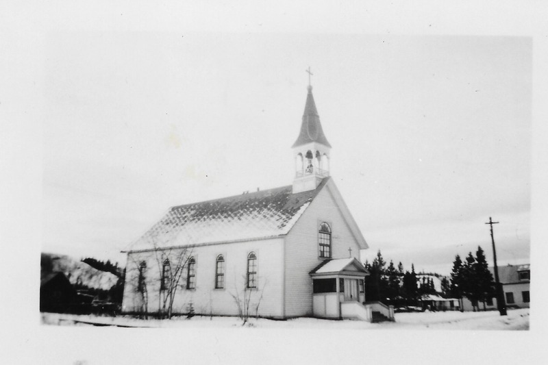 <p>Francophones were instrumental in establishing the Catholic religion in the Yukon. In 1900, Father Camille Lefebvre and Brother Augustin Dumas built the Whitehorse Sacred Heart church with the help of a number of French Canadians. The inscription in French at the base of the statue of Notre-Dame-du-Sacr&eacute;-C&oelig;ur attests to their contribution. The church was replaced by the Cathedral in the early 1960s.<br /><br />Photo: Sacred Heart Church, 1943<br />Photo credit: Yann Herry Collection</p>