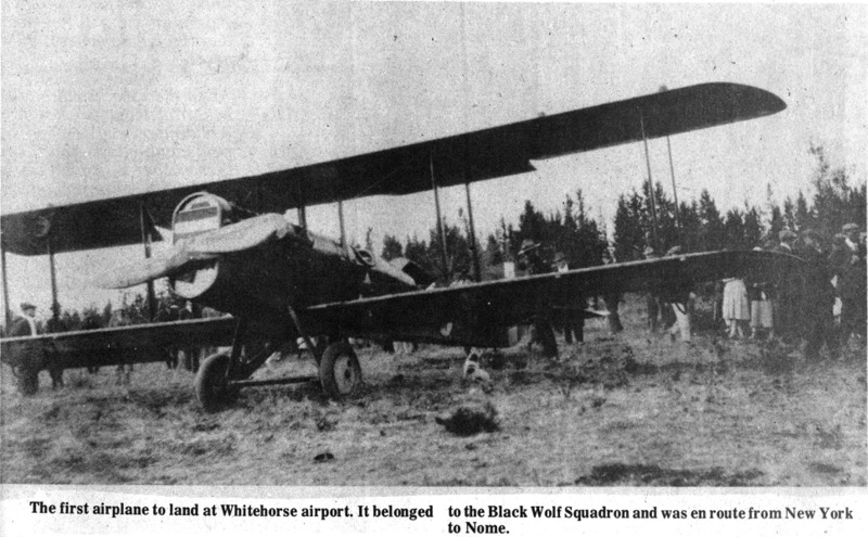 <p>If you climb the Black Street stairs, you can walk between the cliff and the airport.<br /><br />In 1920, the U.S. Army was looking for a site to build an airport in Whitehorse so planes could refuel on their way to Alaska. Antoine Cyr had already felled many of the trees on his land at the top of the cliff which made his lot the best place to land an airplane. So it was that Antoine&rsquo;s woodlot became the Erik Nielson Whitehorse International Airport.<br /><br />Photo: First airplane to land in Whitehorse<br />Photo credit: Yann Herry Collection</p>