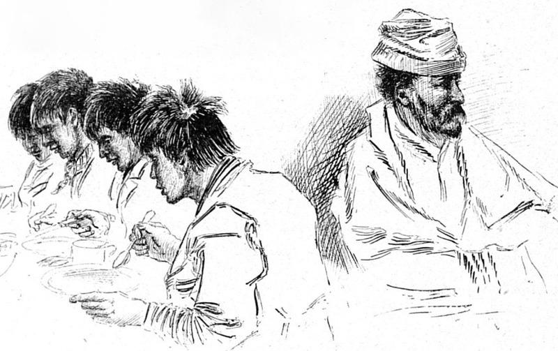 Le 10 mai 1898, deux prospecteurs ont &eacute;t&eacute; tu&eacute;s par balle par quatre jeunes autochtones originaires de Tagish, connus sous le nom des fr&egrave;res Nantuck. Les jeunes hommes ont &eacute;t&eacute; emprisonn&eacute;s &agrave; Tagish puis &agrave; Dawson, o&ugrave; deux d&rsquo;entre eux sont morts de tuberculose et les deux autres ont &eacute;t&eacute; pendus. C&rsquo;&eacute;tait les premi&egrave;res pendaisons au Yukon, avec celle d&rsquo;un troisi&egrave;me homme am&eacute;ricain.<br /><br />Photo : &laquo; Le mineur Fox et ses assassins indiens, prisonniers &agrave; Tagish Post. &raquo;<br />Cr&eacute;dit : Dessin de L&eacute;on Boillot