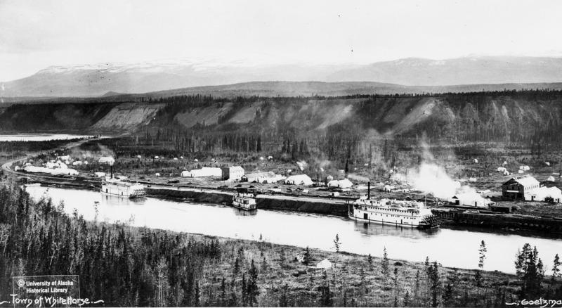 &Agrave; partir de 1898, ce quartier aujourd&rsquo;hui appel&eacute; Riverdale s&rsquo;est peupl&eacute; rapidement, car il &eacute;tait le point d&rsquo;arriv&eacute;e des tramways qui partaient de Canyon City. Il a &eacute;t&eacute; le premier site arpent&eacute; de la ville de Whitehorse par le francophone Paul T.C. Dumais, un des principaux arpenteurs des terres de la couronne au Yukon.<br /><br />D&egrave;s l&rsquo;hiver de 1899, les r&eacute;sidents ont commenc&eacute; &agrave; d&eacute;m&eacute;nager sur l&rsquo;autre rive du fleuve en passant sur la glace. Les scieries et constructeurs ont eu du mal &agrave; r&eacute;pondre &agrave; la demande tant la ville grandissait rapidement, avec la construction d&rsquo;&eacute;difices sur les rues Main et Front. Lorsque le premier train est arriv&eacute; en 1900, la ville &eacute;tait pr&ecirc;te &agrave; accueillir les nouveaux arrivants.<br /><br />La ville a failli s&rsquo;appeler Closeleigh &agrave; ses d&eacute;buts, du nom des investisseurs britanniques (les fr&egrave;res Close) qui ont financ&eacute; le train de la White Pass &amp; Yukon Route. Une poign&eacute;e de r&eacute;sidents de Whitehorse s&rsquo;y sont oppos&eacute;s en 1900 et ont eu gain de cause.<br /><br />Photo : Whitehorse au d&eacute;but des ann&eacute;es 1900<br />Cr&eacute;dit photo : Archives du Yukon, coll. Photographies de l&rsquo;Universit&eacute; de Washington, # 1334