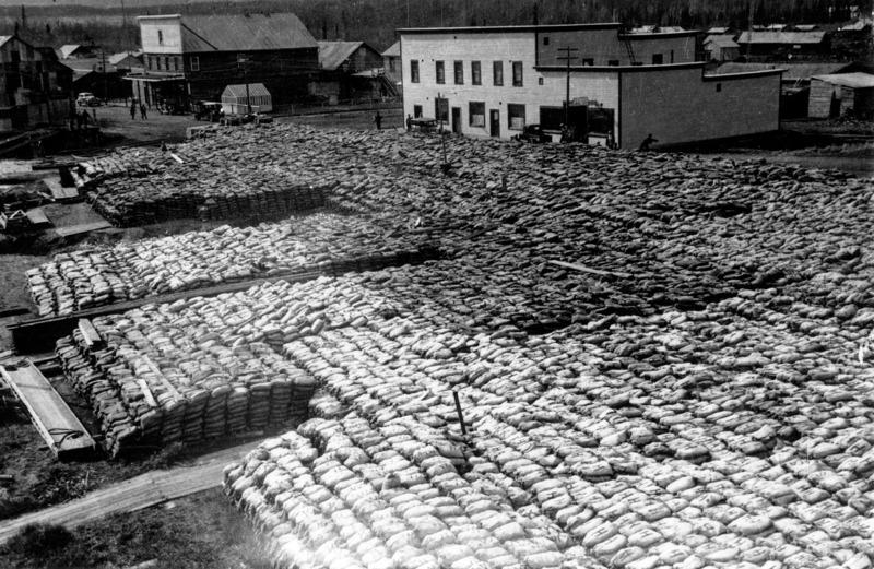 Lorsque Binet a appris que le village de Mayo et une route devaient &ecirc;tre construits, il est revenu de Dawson durant l&rsquo;hiver de 1903 avec six hommes pour y construire un h&ocirc;tel. &Agrave; la fonte des glaces, l&rsquo;h&ocirc;tel &eacute;tait d&eacute;j&agrave; pr&ecirc;t &agrave; accueillir des clients. Il y a ensuite ajout&eacute; un magasin et a baptis&eacute; son &eacute;tablissement Ch&acirc;teau Mayo.<br /><br />Tout au long de l&rsquo;hiver, le minerai &eacute;tait empil&eacute; sur les berges de la rivi&egrave;re devant le Ch&acirc;teau Mayo, en attendant l&rsquo;arriv&eacute;e du bateau &agrave; aube SS Keno &agrave; la mi-mai.<br /><br />Binet a g&eacute;r&eacute; l&rsquo;h&ocirc;tel et ses autres activit&eacute;s jusqu&rsquo;en 1938, et il est ensuite parti vivre en Californie avec sa femme et son fils. Il y est rest&eacute; jusqu&rsquo;&agrave; sa mort en 1943.<br /><br />Photo : Minerai devant le Ch&acirc;teau Mayo<br />Cr&eacute;dit photo : Collection Yann Herry