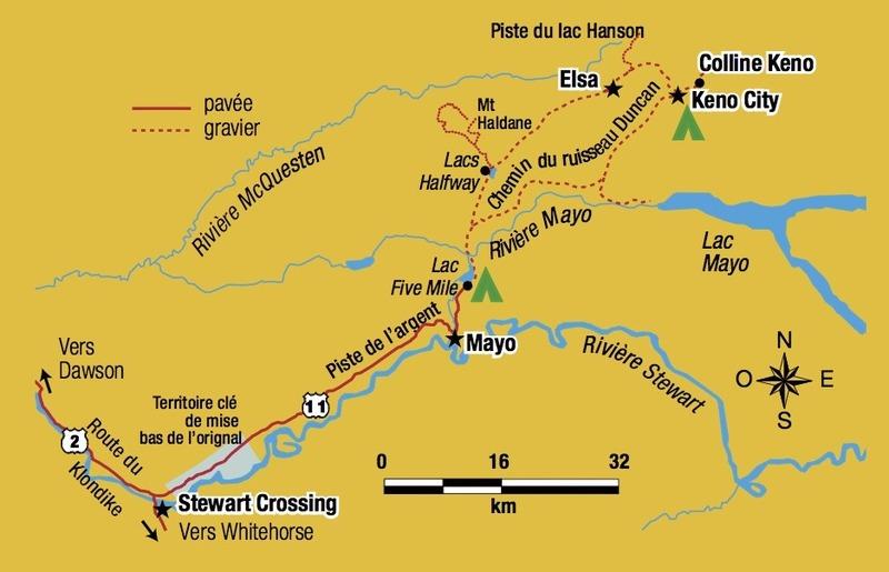 Vous pouvez quitter Keno en prenant la route qui part d&rsquo;ici vers le sud pour revenir en boucle au lieu de rebrousser chemin. Vous passerez alors pr&egrave;s du lac Mayo, et emprunterez le chemin du ruisseau Duncan, qui vous ram&egrave;nera sur la route de Keno quelques kilom&egrave;tres avant Mayo.<br /><br />Sur ce chemin, vous pourrez vous arr&ecirc;ter &agrave; la mine d&rsquo;or de la Duncan Creek Gold Dusters, pr&egrave;s de la fourche o&ugrave; commence le chemin qui m&egrave;ne au lac Mayo. C&rsquo;est une entreprise familiale qui offre des visites guid&eacute;es et l&rsquo;occasion de laver de l&rsquo;or &agrave; la bat&eacute;e.<br /><br />Si vous d&eacute;cidez de faire la boucle, pensez &agrave; vous renseigner au village de Mayo ou de Keno sur les conditions de la route. Elle est inaccessible en hiver.<br /><br />Photo : Carte de la route de l&rsquo;argent<br />Cr&eacute;dit photo : K-L Services, 2&thinsp;004. &laquo; &Agrave; la d&eacute;couverte de la colline Keno &raquo;. Soci&eacute;t&eacute; de d&eacute;veloppement du Yukon.