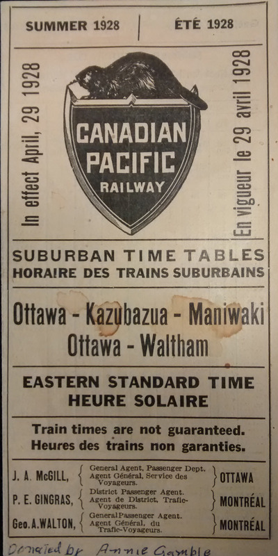 <p>Horaire de trains suburbains. Avril 1928.</p>