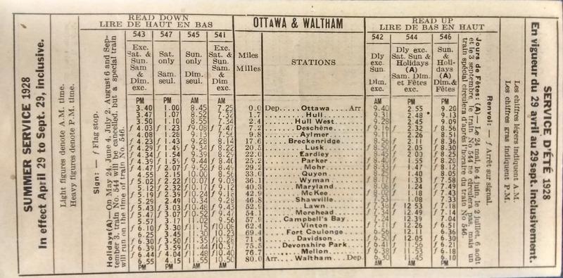 <p>Summer service 1928 (Ottawa &amp; Waltham)</p>