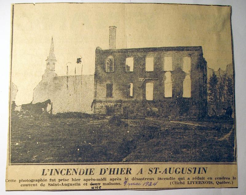 <p>Le 9 mai 1924, le couvent, deux maisons et quelques hangars sont la proie des flammes. Heureusement, personne n&rsquo;est bless&eacute;.<br /><br />Cette photo est tir&eacute;e du journal Le Soleil du 10 mai 1924.<br /><br />Photo : &copy; SHSAD</p>