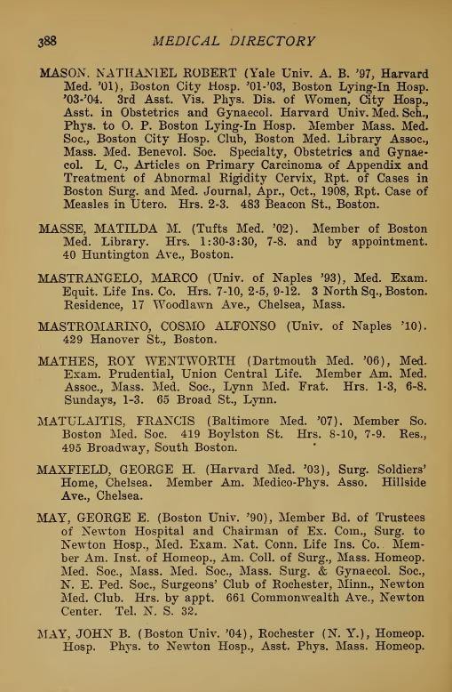 <p>Extrait de l&#39;annuaire m&eacute;dical de Boston indiquant les heures d&#39;ouverture du bureau du Dr Mathilda Masse.&nbsp;(Medical directory of greater Boston 1915-1916, p. 388)</p>