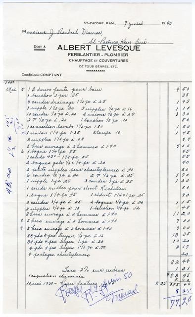 <p>Exemple de facture faite aux clients par M. Albert L&eacute;vesque.<br /><br />(Archives Famille Norbert-&Eacute;. Dionne)</p>