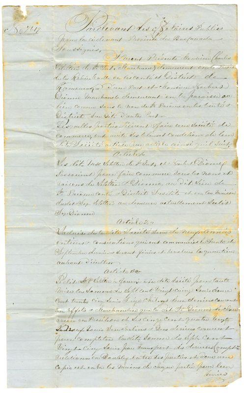 <p>Extrait du contrat de soci&eacute;t&eacute; entre C. Letellier et N. Dionne &ndash; 1854.<br />(BAnQ P984, Fonds famille Dionne-Couillard-Dupuis)</p>