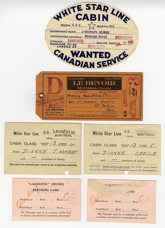 <p>Tickets du voyage de noces, Norbert-&Eacute;. et C&eacute;cile, juillet 1932.<br />(BAnQ P984, Fonds famille Dionne-Couillard-Dupuis)</p>