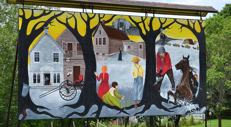 <p>Pour la r&eacute;alisation de la murale du canton de Roxton, le conseil municipal a choisi Jacinthe Labrecque. Artiste peintre professionnelle du lieu, elle est reconnue pour son &oelig;uvre au style vif et &eacute;clat&eacute;, ses ateliers de cr&eacute;ativit&eacute; &agrave; partir de mat&eacute;riaux r&eacute;cup&eacute;r&eacute;s et son approche sp&eacute;cialis&eacute;e en d&eacute;ficience intellectuelle et en g&eacute;rontologie.<br /><br />Pour effectuer la composition de cette murale, l&rsquo;artiste s&rsquo;est d&rsquo;abord bas&eacute;e sur ses recherches historiques. Elle a ensuite propos&eacute; divers th&egrave;mes &agrave; la municipalit&eacute; qui les a tout de suite accept&eacute;s. Elle a r&eacute;alis&eacute; l&rsquo;&oelig;uvre surdimensionn&eacute;e en compagnie de deux stagiaires, Dominique Desbiens et Laurence Gauthier, artistes peintres de la rel&egrave;ve.<br /><br />Dans cette &oelig;uvre, on remarque bien l&rsquo;utilisation de couleurs vives. Jacinthe Labrecque a choisi le jaune et le rouge comme couleurs pr&eacute;dominantes afin de souligner l&rsquo;intelligence, la force et la pers&eacute;v&eacute;rance des b&acirc;tisseurs. Les trois zones distinctes illustrent les trois routes num&eacute;rot&eacute;es traversant le canton alors que les branches et les racines des arbres repr&eacute;sentent les g&eacute;n&eacute;rations pass&eacute;es et &agrave; venir.</p>