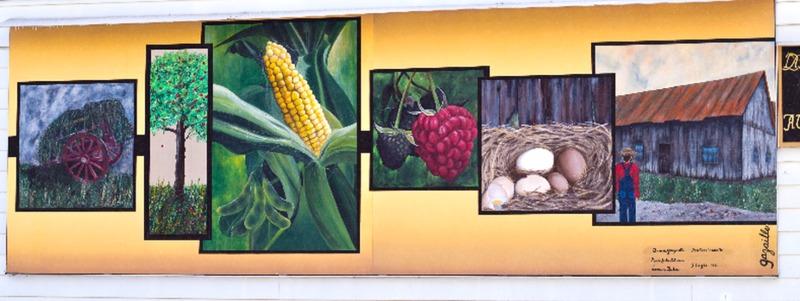 <p>Pour la cr&eacute;ation de la murale de Saint-Th&eacute;odore-d&rsquo;Acton, le conseil municipal a choisi Denise Gazaille, une artiste peintre professionnelle d&rsquo;Acton Vale qui, depuis plus de trente ans, expose partout au Qu&eacute;bec et qui a re&ccedil;u de nombreux prix de ses pairs pour ses &oelig;uvres.<br /><br />Elle a assur&eacute; la composition de cette murale en se basant sur les th&egrave;mes historiques d&eacute;termin&eacute;s par la municipalit&eacute; et l&rsquo;a r&eacute;alis&eacute;e en compagnie de deux stagiaires, Marie-Julie Blouin et Laurence Gauthier, artistes peintres de la rel&egrave;ve.<br /><br />&nbsp;</p>
