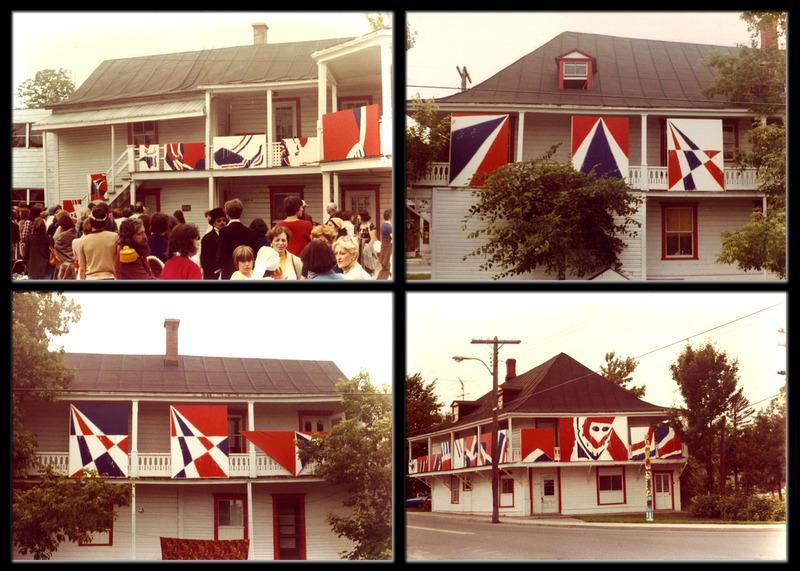 <p>Photos prises lors de la marche historique du 24 juin 1978. Pour marquer l&rsquo;&eacute;v&eacute;nement Serge Lemoyne avait install&eacute;e une vraie &laquo;galerie de peintures&raquo;.<br />Photos R&eacute;my Beaugrand</p>