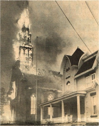On the afternoon of June 11, 1974, lightning struck the church causing a terrible fire that completely destroyed what many considered to be the most beautiful Neo-Gothic church in the Saint-Hyacinthe diocese. It was an irreparable loss...