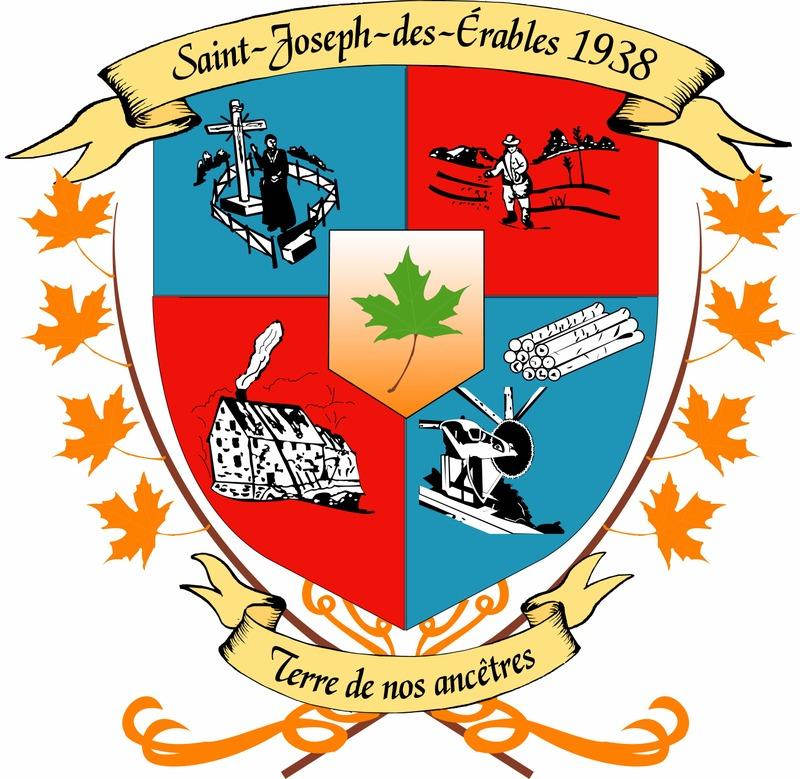 <p>Orn&eacute;s par deux banni&egrave;res en haut et en bas de couleur or pour repr&eacute;senter la richesse des terres agricoles, les armoiries de la municipalit&eacute; mettent en &eacute;vidence les importances de celle-ci :<br /><br />&nbsp; &nbsp; * Nous y retrouvons, tout d&rsquo;abord, la religion avec la premi&egrave;re chapelle de Saint-Joseph-de-Beauce qui avait &eacute;t&eacute; &eacute;rig&eacute;e dans les fonds. D&rsquo;ailleurs vous pouvez admirer une croix illumin&eacute;e pour rappeler cette chapelle de 1737;<br /><br />&nbsp; &nbsp; * Par la suite, vous pouvez d&eacute;couvrir une des richesses de la municipalit&eacute; qui est l&rsquo;agriculture. D&rsquo;importance dans la municipalit&eacute;, les armoiries lui attribuent une place digne;<br /><br />&nbsp; &nbsp; * La deuxi&egrave;me activit&eacute; en importance dans la municipalit&eacute; est sans contredit le travail du bois. Aupr&egrave;s des armoiries, une scierie d&eacute;signe ce domaine de menuiserie, artisans, sciage, coupage et autres activit&eacute;s connexes au travail du bois;<br /><br />&nbsp; &nbsp; * La municipalit&eacute; ne pouvait passer sous silence l&rsquo;histoire, les moments cruciaux qu&rsquo;elle a connus. Le Moulin des Fermes du 18&egrave;me si&egrave;cle rappelle des &eacute;v&egrave;nements de son pass&eacute; comme le m&eacute;tier d&rsquo;autre fois, les crues des eaux et autres. Vous pourrez voir quelques ruines du Moulin des Fermes lorsque vous faites un tour vers la rivi&egrave;re des Fermes.<br /><br />Le blason sup&eacute;rieur est &eacute;rig&eacute; pour rappeler le nom de la municipalit&eacute;, Saint-Joseph-des-&Eacute;rables. Le vert voulant d&eacute;signer la naissance en lien avec la devise.<br /><br />Les deux branches de feuilles d&rsquo;&eacute;rable rappellent la florissante industrie de l&rsquo;&eacute;rable &agrave; sucre, le nom de la municipalit&eacute;, encore une fois et rappelle l&rsquo;embl&egrave;me floral du Canada. La couleur des feuilles 