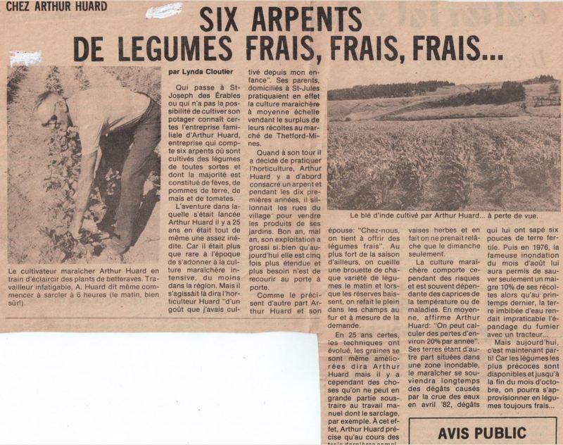 <p>Article paru dans un journal de la r&eacute;gion.<br /><br />Source: Jardinier Huard</p>