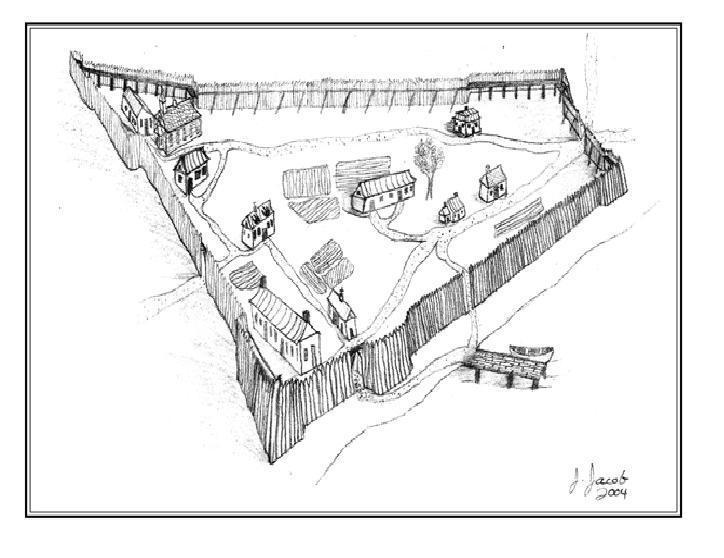 La palissade originale du fort de La Prairie était constituée de pieux de bois. La structure a été agrandie plusieurs fois dans les décennies suivantes, au fur et à mesure que la population augmentait à l'intérieur de la zone fortifiée.
