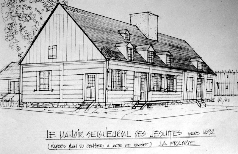 La seigneurie de La Prairie a été fondée par les Jésuites en 1667. Voici un plan de la maison seigneuriale en question vers 1692.