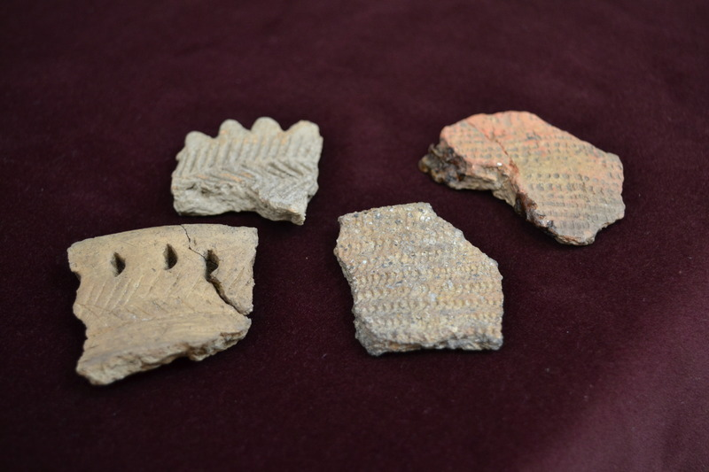 These Native American vase fragments were used as cauldron to cook food, including fish, corn, berries, etc.
