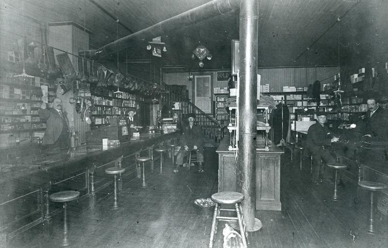 View from&nbsp; the inside of&nbsp;Roberge General Store in 1900.<br /><br />Picture source: CART - Fonds Les C&eacute;l&eacute;brations du centenaire de Thetford Mines 1992
