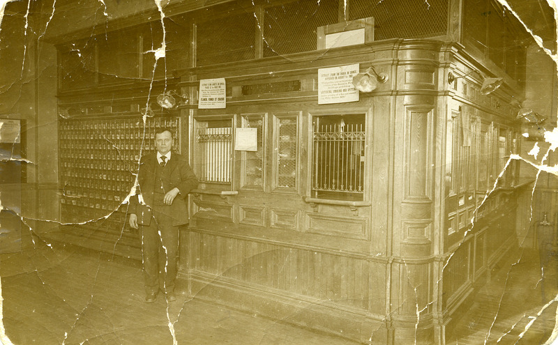 View from the inside of the First Post Office in 1912. Postmaster is Jos Rousseau.<br /><br />Picture source: CART - Fonds Galerie de nos anc&ecirc;tres de l&#39;or blanc