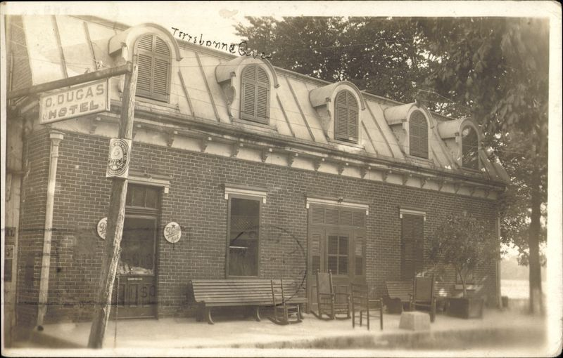 <p>La vill&eacute;giature du Vieux-Terrebonne s&rsquo;amorce progressivement au d&eacute;but du XIXe si&egrave;cle. Entre 1870 et 1900, deux h&ocirc;tels ont particuli&egrave;rement la cote aupr&egrave;s des touristes, soit l&rsquo;h&ocirc;tel d&rsquo;Oscar Dugas sur la rue&nbsp; Saint-Jean-Baptiste, face &agrave; la rue Saint-Andr&eacute;, et l&rsquo;H&ocirc;tel du Boulevard (J.-B. Bernardin) sise &agrave; l&rsquo;entr&eacute;e de l&rsquo;&Icirc;le-des-Moulins, face &agrave; la place Publique.<br /><br />Cette derni&egrave;re est c&eacute;d&eacute;e au fils Bernardin (Louis-Th&eacute;odore) qui construit un tout nouvel h&ocirc;tel en face. L&rsquo;h&ocirc;tel L.-T. Bernardin prend par la suite le nom d&rsquo;Happy Home Inn et H&ocirc;tel des Mille-&Icirc;les jusqu&rsquo;&agrave; ce qu&rsquo;il soit incendi&eacute;, en 1971.<br /><br />Pour sa part, l&rsquo;H&ocirc;tel Oscar Dugas est l&rsquo;un des plus champ&ecirc;tres de la ville, il est d&rsquo;ailleurs consid&eacute;r&eacute; comme un h&ocirc;tel de premi&egrave;re classe par les voyageurs qui y s&eacute;journent. De nombreuses diligences longent la rue Saint-Jean-Baptiste &agrave; la sortie du pont de Terrebonne pour se diriger vers cet h&ocirc;tel situ&eacute; en bordure de la rivi&egrave;re.<br /><br />L&rsquo;immeuble est d&eacute;truit par l&rsquo;incendie de 1922. Aujourd&rsquo;hui, une r&eacute;sidence priv&eacute;e est &eacute;rig&eacute;e l&agrave; o&ugrave; se tenait autrefois l&rsquo;h&ocirc;tel.</p>