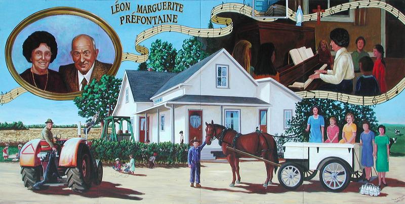 <p>Murale par Jacques Martel<br /><br />L&eacute;on Pr&eacute;fontaine et sa femme Marguerite Coulombe se sont mari&eacute;s en 1925. Le couple croyait fortement en trois choses, qu&rsquo;ils ont transmis &agrave; leurs enfants : la foi, le travail et le plaisir. L&eacute;on commen&ccedil;ait &agrave; travailler &agrave; 5 heures du matin avec une m&eacute;lodie aux l&egrave;vres. Ses filles l&rsquo;aidaient et elles chantaient quand elles devaient traire les vaches avant et apr&egrave;s l&rsquo;&eacute;cole.</p>