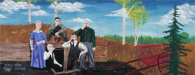 <p>Murale par Marc &amp; Daniel Michaud<br /><br />Th&eacute;odore Gelot et Eug&egrave;ne M&eacute;nard &eacute;taient des colons fran&ccedil;ais qui travaillaient dans les vignobles en Californie. Les deux amis sont partis &agrave; Edmonton et y ont achet&eacute; une ferme en 1894. Pour r&eacute;pondre aux exigences gouvernementales, ils ont construit un petit caveau sur la ligne qui incorporait les deux fermes.&nbsp;</p>