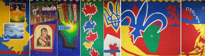 <p>Murale par Jacques Martel &amp; Doris Charest<br /><br />Commandit&eacute;e par les francophones pour honorer les Ukrainiens de la communaut&eacute; de Legal, cette murale commence &agrave; gauche avec la carte de l&rsquo;Ukraine. Nous voyons des rappels de l&rsquo;Ukraine par l&rsquo;utilisation des couleurs, du navire traversant l&rsquo;oc&eacute;an, des danseurs ukrainiens et d&rsquo;une pri&egrave;re de remerciements des fermiers. Nous voyons aussi les noms de communaut&eacute;s avec une pr&eacute;sence signifiante d&rsquo;Ukrainiens. Finalement, il y a la fleur de lys et des mots de bienvenue ukrainien pour montrer l&rsquo;esprit coop&eacute;ratif entre les deux groupes ethniques.</p>