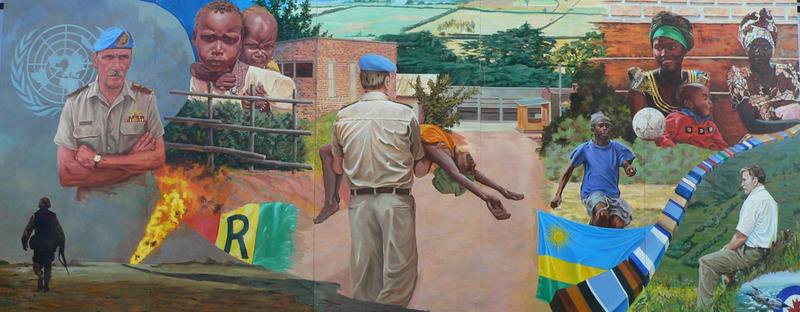 <p>Murale par Jacques Martel<br /><br />En 1994, Rom&eacute;o Dallaire a &eacute;t&eacute; mis en charge des forces de maintien de la paix de l&rsquo;ONU au Rwanda. Au bas &agrave; gauche, il y a les champs de p&eacute;trole pour rappeler qu&rsquo;il n&rsquo;y avait pas de p&eacute;trole l&agrave;. Le c&ocirc;t&eacute; gauche montre les douleurs de la guerre avec les enfants comme victimes. Au centre, Rom&eacute;o Dallaire porte une femme hors de la route. Le c&ocirc;t&eacute; droit montre le nouvel espoir du pays.</p>