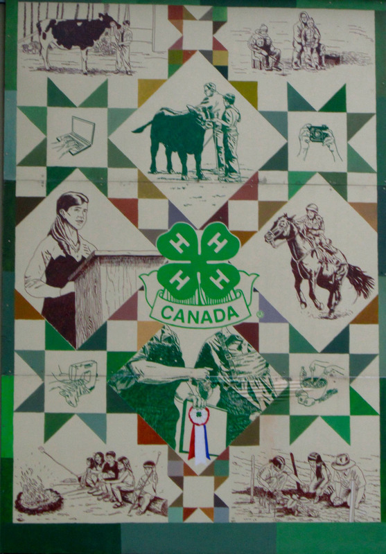 <p>Murale par Marc &amp; Daniel Michaud<br /><br />Le 4-H, avec sa devise &laquo; Head (t&ecirc;te), Heart (coeur), Health (sant&eacute;), Hands (mains) &raquo;, est actif au Canada depuis 1913. Dans la murale, nous voyons diff&eacute;rentes activit&eacute;s du mouvement 4-H : b&oelig;ufs, chevaux et plusieurs autres activit&eacute;s sont disponibles &agrave; la jeunesse.</p>