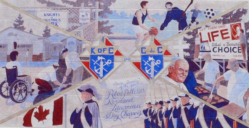 <p>Murale par Karen Blanchet<br /><br />Les Chevaliers de Colomb ont quatre piliers d&eacute;montr&eacute;s dans la murale : patriotisme, fraternit&eacute;, charit&eacute; et service. Au cours des ann&eacute;es, ils ont contribu&eacute; aux activit&eacute;s communautaires, subventionn&eacute; des activit&eacute;s pour la jeunesse et ont affirm&eacute; la valeur de la vie. La murale est peinte sur un canevas de toile.</p>